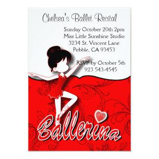 Gullig röd högläsning för dans för balett för 12,7 x 17,8 cm inbjudningskort