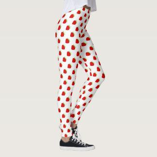 Gullig röd jordgubbemönsterdamasker leggings