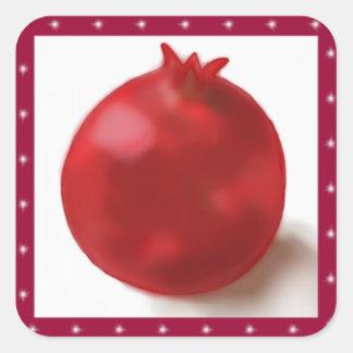 Gullig röd teckning för Pomegranate Fyrkantigt Klistermärke