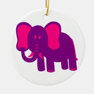 Gullig rolig elefant julgransprydnad keramik