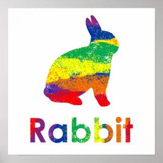 Gullig, rolig färgrik abstrakt regnbågekaninkanin poster