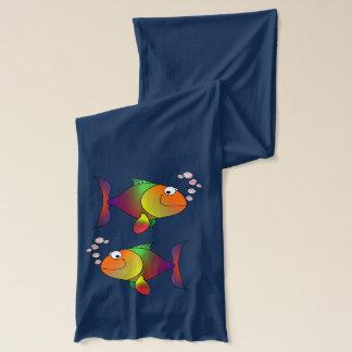 Gullig rolig färgrik fisk sjal