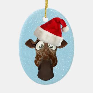 Gullig rolig giraff i den Santa hatten Ovalformad Julgransprydnad I Keramik