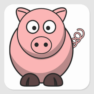 Gullig rolig gris fyrkantigt klistermärke