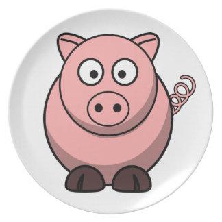 Gullig rolig gris tallrik