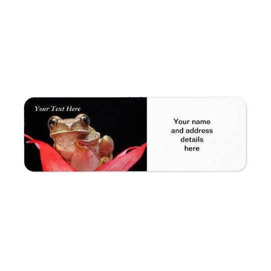 Gullig rolig groda i mall för lilja RAL Returadress Etikett