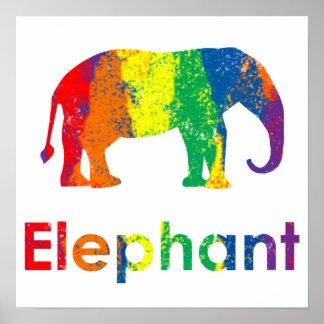 Gullig rolig och färgrik abstrakt regnbågeelefant affisch