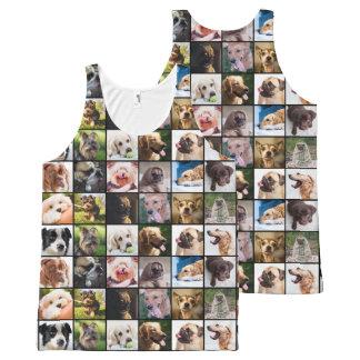 Gullig & rolig tanktop för hundfotoCollage