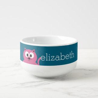 Gullig rosa fet katt - blåttbakgrund mugg för soppa