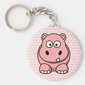 Gullig rosa flodhäst rund nyckelring
