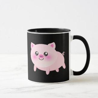 Gullig rosa gris på svart mugg
