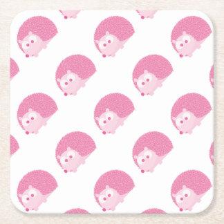 Gullig rosa igelkott underlägg papper kvadrat