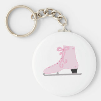 Gullig rosa isskridsko rund nyckelring