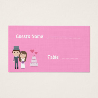 Gullig rosa placering för brud & för linnebröllop visitkort