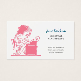 Gullig rosa Retro karikatyrkvinnarevisor Visitkort