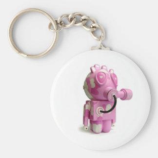 Gullig rosa robothjärtnyckelring rund nyckelring