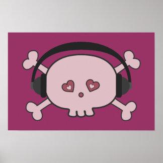Gullig rosa tecknadskalle DJ med hörlurar Poster