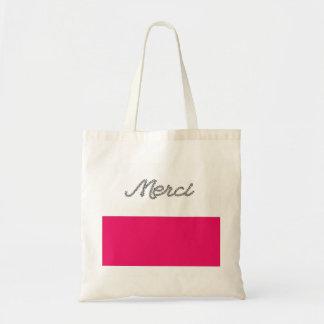 Gullig rosa typografi Merci för franskt ordtack Budget Tygkasse