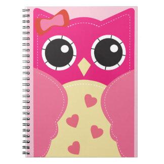 Gullig rosa uggla anteckningsbok med spiral