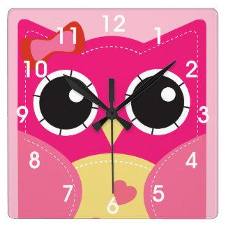 Gullig rosa uggla fyrkantig klocka