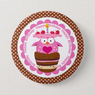 Gullig rosa uggla i födelsedagmuffin mellanstor knapp rund 7.6 cm