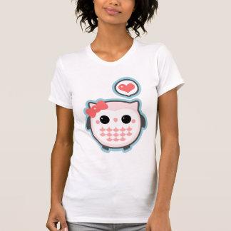 Gullig rosa uggla tee shirt