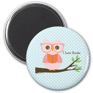 Gullig rosa ugglaläsning magnet rund 5.7 cm