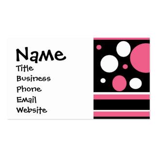 Gullig rosasvartvit görar randig polka dotsmönster set av standard visitkort