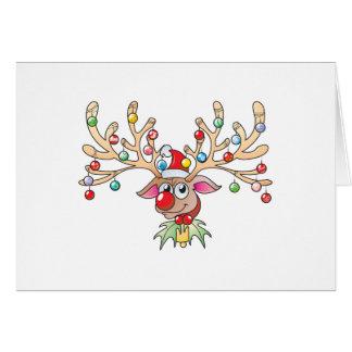 Gullig Rudolf ren med julljusinbjudan Hälsningskort