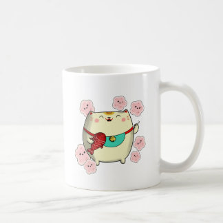 Gullig rundaManeki Neko katt Kaffemugg