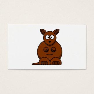 Gullig rundatecknadkänguru visitkort