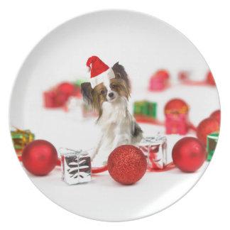 Gullig Santa för Papillon hundjul hatt Tallrik