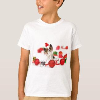 Gullig Santa för Papillon hundjul hatt Tee Shirt