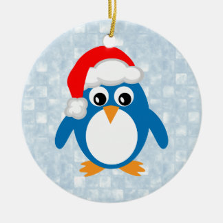Gullig Santa pingvin Julgransprydnad Keramik