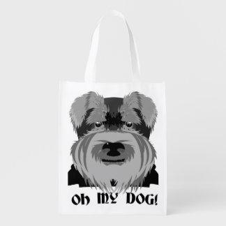 Gullig Schnauzer Oh min hund Återanvändbar Påse