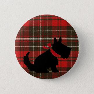 Gullig Scotty hund & röd Tartan Standard Knapp Rund 5.7 Cm
