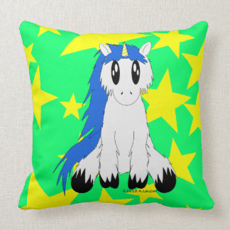 Gullig Scruffy Unicorn (blått) Kudde