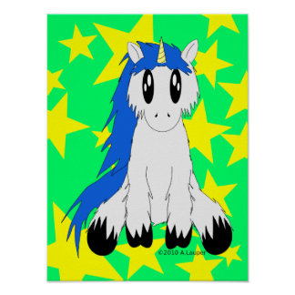 Gullig Scruffy Unicornaffisch (blått) Poster