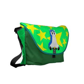 Gullig Scruffy Unicornmessenger bag (blått) Kurir Väskor