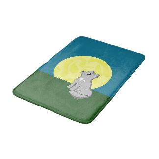 Gullig Scruffy varg med månebadmattan Badrumsmatta