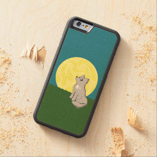 Gullig Scruffy varg med månen Carved Lönn iPhone 6 Bumper Skal