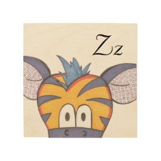 Gullig sebrapanelkonst - Z är för sebra Trätavla