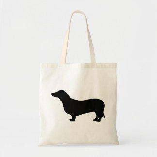 Gullig silhouette för taxhundsvart tygkasse