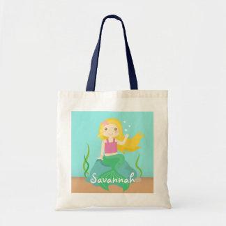 Gullig sjöjungfru från hav, för flickor tygkasse