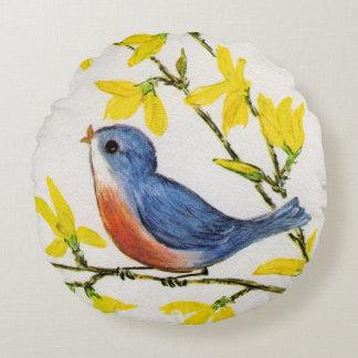 Gullig sjungande gren för blåttfågelträd rund kudde