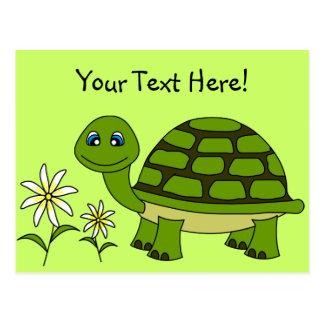 Gullig sköldpaddatecknad vykort