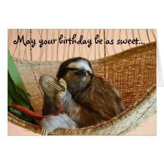 Gullig Sloth för grattis på födelsedagen Hälsningskort