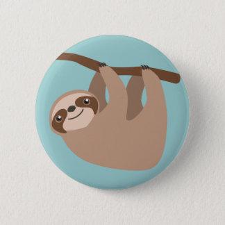 Gullig Sloth på en gren Standard Knapp Rund 5.7 Cm