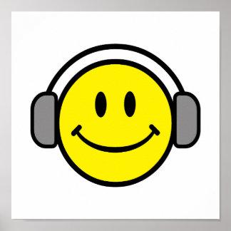 gullig smiley face med hörlurar poster