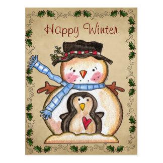 Gullig snögubbe- och pingvinvänskapvykort vykort